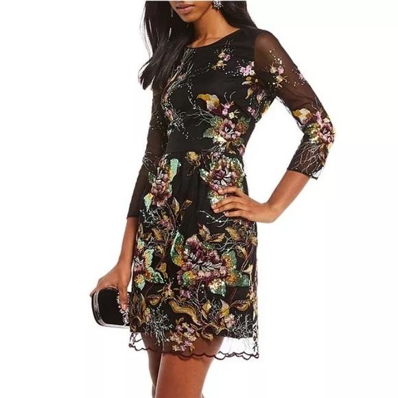 238e0222f1 Badgley Mischka Dresses   Belle Anna Flower Sequin Dress 2   Poshmark